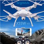 ﹩53.99. White Syma X5SW-V3 Wifi FPV 2.4G RC Quadcopter Drone with HD Camera+5 Batteries    Color - White, Fuel Source - Electric, State of Assembly - Ready-to-Go, Drone Type - Ready to Fly Drone, Camera Integration - Camera Included, FPV Operation - Yes, Camera Features - 720p HD Video Recording, Maximum Flight Time - 7 min., Maximum Control Range - 100ft. (30m), Drone Connectivity - Wi-Fi Connection