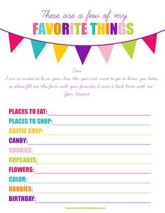 Free These Are a Few of My Favorite Things Printable #247moms