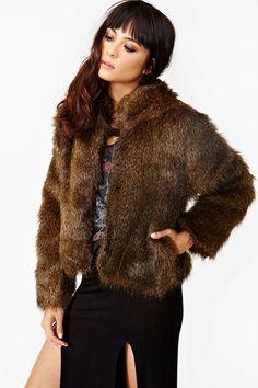 Faux fur jacket. Nasty Gal