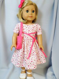 American Girl Doll Clothes Pink Flowered by buttonandbowboutique