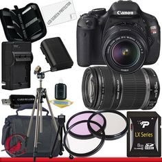 Canon EOS Rebel T3i 18 MP CMOS Digital SLR Camera w/ 18-55mm IS II & 55-250 IS II Lens Kit Package 4 by Canon. $814.95. Package Contents:  1- Canon EOS Rebel T3i 18 MP CMOS Digital SLR Camera w/ 18-55mm IS II & 55-250 IS II Lens Kit with all supplied accessories 1- 8GB SDHC Class 10 Memory Card 1- Rapid External Ac/Dc Charger Kit   1- USB Memory Card Reader  1- Rechargeable Lithium Ion Replacement Battery  1- Weather Resistant Carrying Case w/Strap  1- Pack of LCD Screen P...