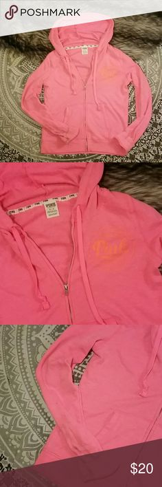 Vs pink zippered orange hoodie spring break READ Prewoned. Worn twice by my sister, please see photos - there is some gray marks on the hoodie especially noticeable near the hand area but other smaller lighter marks are on sleeves, torso area, etc. Comes as shown, sold as is. Probably can come out easily with a good presoak. Msrp is $50, priced cheap to reflect that you'll need to presoak / scrub it. I'd take this on spring break because it's cute and wouldn't matter since it's cheap and…