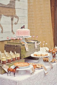 pink brown cream vintage themed pony ride birthday party dessert table with antique brocade chenille table cloth