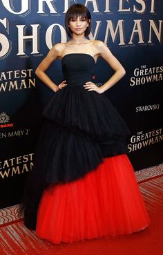 Zendaya in a strapless black and red Viktor and Rolf ballgown