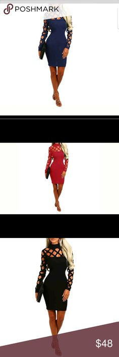 Beautiful sexy cutout dress Beautiful sexy Cut out dress with wonderful stretch material new without tags comes in 3 colors, black red and navy blue. Please message me your color size S, M, L Dresses