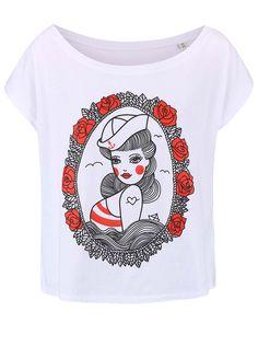 8a2fc3f804 Biele dámske voľnejšie tričko ZOOT Originál Pin Up The Originals