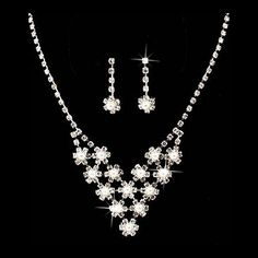 """Bridal Wedding Jewelry Set Crystal Rhinestone Pearl Cascade Design Silver Accessoriesforever. $15.50. Quantity: 1 set includes 1 necklace and matching earrings. Material: Clear Crystal Rhinestones, , White Faux Pearls, Metal Casting, Rhodium / Silver Plated. Nickel & Lead Free. Dimensions (Size): Necklace Length: 12"""" + 6"""" Extender (Lobster Claw Closure); Earrings: Approx. 1"""" Drop x 0.3""""W (Post Back Closure). Style: Cascade Design, Bib, Prong Set. Color: Silver, Clear"""