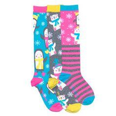 Frosty Friends Knee High Socks from #littlemissmatched #funkysocks #giftsforher