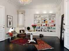 dark timber floors and white