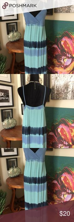 CYNTHIA ROWLEY Knit Slip Dress Nice dress for summer evenings. This is a maxi dress with spaghetti straps, crossover bodice, empire waist with elastic around front and back. Very soft, heavier weight t-shirt feel. 94% Rayon, 6% Spandex. Color is Medium Blue and Dark Blue. Cynthia Rowley Dresses Maxi