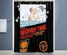 Bring a classic game to life every time you go in for a shower using this retro Nintendo shower curtain. The curtain comes with a dozen plastic rings for easy installation and is made to look like a giant NES game cartridge.