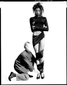 Naomi Campbell and Azzedine Alaia, 1987 | From a unique collection of black and white photography at https://www.1stdibs.com/art/photography/black-white-photography/