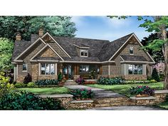 GOOD!!!! WE LIKE ALOT!!!  Home Plan HOMEPW77721 is a gorgeous 2115 sq ft, 1 story, 3 bedroom, 2 bathroom plan influenced by  Craftsman  style architecture.