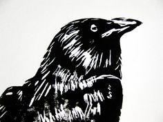 Black Raven, linoleum block print black ink