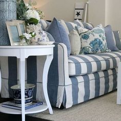 Our Denim & Cream sofa takes centre stage along with the Harbour Side Table. Our Denim & Cream sofa takes centre stage along with the Harbour Side Table. Coastal Living Rooms, Home Living Room, Living Room Decor, Hamptons Style Decor, Blue And White Living Room, Table Design, Design Design, Modern Design, Beach House Decor