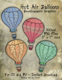 Instant Download, Hot Air Balloons Clip Art, Downloadable Graphics, Balloon Graphics, Whimsical Art, CU or PU, Original Art by Cherie