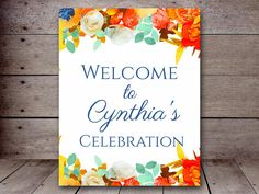 DIY 8x10 Summer Watercolor Floral Welcome Sign by MagicalPrintable