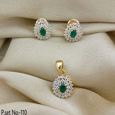 Flower Style With Emerald Stone. Rama Creations Manufacturer & Wholesalers of Exclusive Imitation Jewellery in India. Gold Jewelry Simple, 18k Gold Jewelry, Delicate Jewelry, Diamond Jewelry, Diamond Pendant, Jewelry Design Earrings, Gold Earrings Designs, Gold Jewellery Design, Sapphire And Diamond Earrings