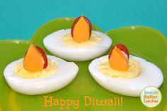 Fun Diwali snack or appetizer - egg lanterns !
