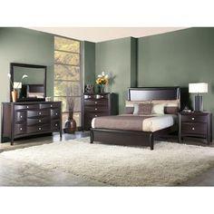 dresser only: Dark Bedroom Set, light carpet, green walls, brown bedding...very nice!
