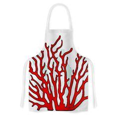 Kess InHouse Oriana Cordero 'Red Coral' White Red Artistic Apron