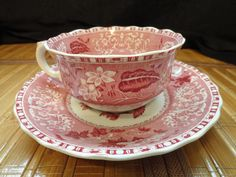SPODE CAMILLA COPELAND 2  Cup and Saucer Red and White Scalloped Edge #SpodeCopeland