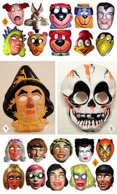 vintage masks for a retro halloween Retro Halloween, Halloween Fotos, Halloween Items, Halloween Masks, Holidays Halloween, Happy Halloween, Halloween Decorations, Awesome Pumpkin Carvings, The Mask Costume