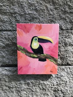 """acrylic vivid pink and orange toucan on stretched canvas - """"sunset toucan"""" Small Canvas Paintings, Small Canvas Art, Cute Paintings, Mini Canvas Art, Painting Canvas, Diy Canvas, Drawing On Canvas, Acrylic Art Paintings, Trippy Painting"""