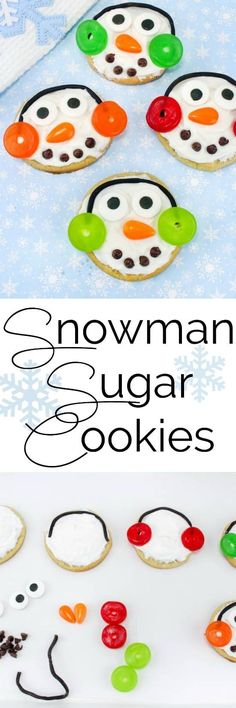 These Snowman Sugar Cookies are the perfect Christmas project for kids! They get to make this super cute Christmas Cookie and they get to eat it too! These cookies are perfect for your Christmas Cookie Swap! #holiday #cookies #snowman #sugarcookies