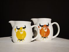 """arabia """"heluna"""" cow pitcher  by mimithemucho, via Flickr Finland, Cow, Tableware, Dinnerware, Tablewares, Cattle, Dishes, Place Settings"""