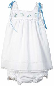 The White Voile and Lace Bloomer Set This white, cotton voile two-piece bloomer set features embroidered dainty bluebells across the top of the blouse. It is an heirloom design you're sure to cherish for years to come.