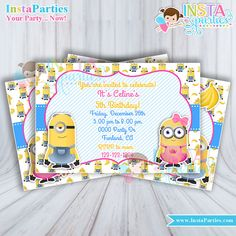 Minion minions 4x6 birthday party invitations by InstaParties joint ideas supplies digital printable invites boy girl cutest by InstaParties.com