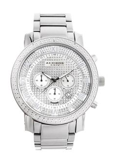 AKRIBOS Men's Diamond Chrono Watch