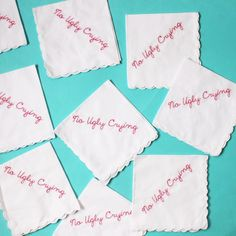 Ugly crying for that extra hour this AM. Don't forget to spring forward Party Girls. PS: These cutie hankies are inside our new Pick-Me-Up party package!
