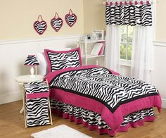 Perfect for jeylas rm! Hot Pink & Black Zebra Animal Print Comforter Bedding Set for Girls #kidsroomstore $99.99