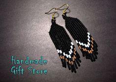 Beaded earrings Long beaded earrings Seed by HandmadeGiftsStore