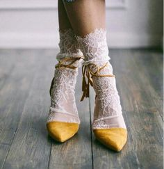 White Lace Socks - Bridal Lace socks - Sexy Socks - White socks - White tulle socks - Fashion socks - Designer socks socks for Women's Shoes Whether ballerinas, sneakers, high heels or shoes - wonderful shoes are every woman's favorite little bit o. Sock Shoes, Cute Shoes, Me Too Shoes, Crazy Shoes, Fashion Socks, Fashion Outfits, Womens Fashion, Fashion Trends, Fashion Heels