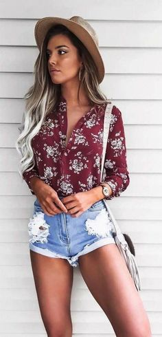 Mocha Hat + Red Printed Shirt + Ripped Denim Short Outfits for Teens Short Outfits, Cute Outfits, Stylish Outfits, Ladies Outfits, Girl Outfits, Shorts Outfits For Teens, Spring Shorts Outfits, Summer Holiday Outfits, Hawaii Outfits