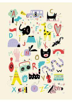 Alphabet retro illustré - Retro ABC Alphabet Poster by Sarah Andreacchio - L'Affiche Moderne