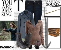 """""""Harry Potter and the Deathly Hallows ( Part 1 ) [ Hermione's Outfit ]"""" by mrlaaajs ❤ liked on Polyvore"""