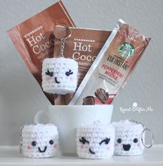 Starbucks Holiday Beverages and Crochet Marshmallow Keychains