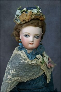 """Lovely Early 17.5 """" Jumeau Fashion with Huge Wrap Around Blue Eyes from bebesatticfinds on Ruby Lane"""