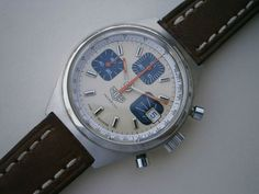 Beautiful 1970s Heuer Vintage Sport Chronograph Ref 1589 Valjoux Cal 7765 | eBay