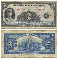 2 DOLLARS 1935 ANGLAIS, OSBORNE/TOWERS (F) 1935 ENGLISH 2-DOLLAR NOTE… Canadian Coins, Canadian History, Canadian Dollar, Coin Collection Value, Thousand Dollar Bill, Money Notes, Rare Coins Worth Money, Foreign Coins, Coin Worth