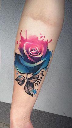 cool watercolor rose tattoo © tattoo artist Ewa Sroka ❤🌹❤🌹❤🌹❤ girl tattoo Watercolor Tattoos Will Turn Your Body into a Living Canvas Up Tattoos, Wolf Tattoos, Finger Tattoos, Body Art Tattoos, Sleeve Tattoos, Tattoos For Guys, Tattoos For Women, Tatoos, Tattoo Kind