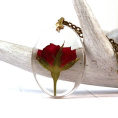 real rose necklace - real flower pendant - flower resin jewelry - red rose necklace - botanical jewelry - terrarium - romantic - garden by JolieGlace on Etsy