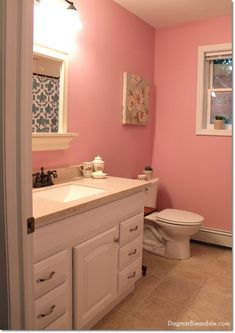 Blue Cottage Bathroom - how to decorated on a budget. Dagmar's Home. DagmarBleasdale.com #bathroom #interiordesign #cottage #design #decor #frugal #pink
