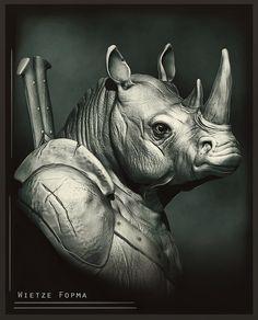 made this Rhino warrior doodle Rhino Tattoo, Rhino Art, Save The Rhino, Rhinoceros, Zbrush, Creative Design, Creepy, Spiderman, Beast