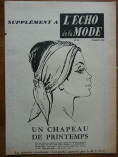 Mode/Couture-Patron l'Echo de la Mode 1963 - Un chapeau de printemps