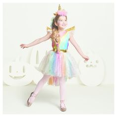 Girls' Deluxe Rainbow Unicorn Costume L (10-12) - Hyde and Eek! Boutique, Multicolored